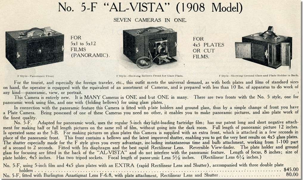 1908 catalogue reference for the Al-Vista No.5-F
