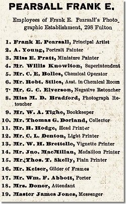 1874 list of employees in Frank's gallery. (Source courtesy of Marcel Safier)