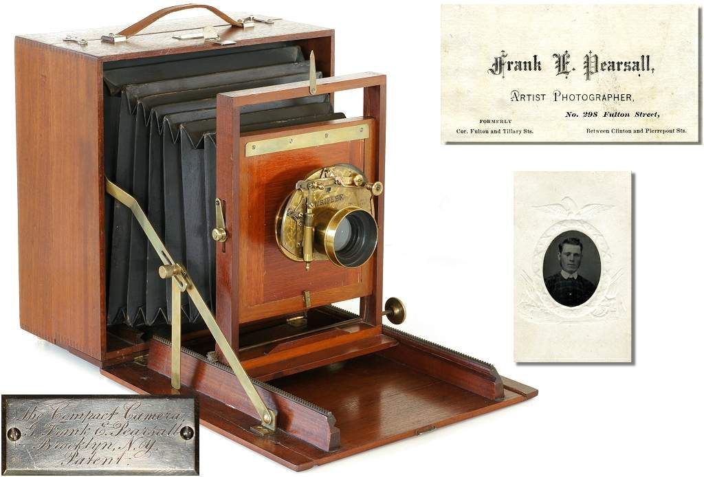 1883 Pearsall Compact Camera, 1870s business card and early portrait of Frank.