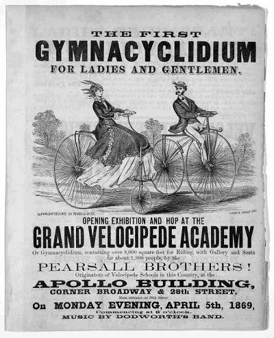 1869 Advertisement for the Pearsall Brothers Velocipede Academy